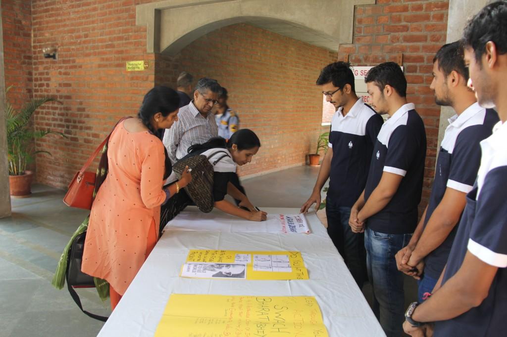 EDI Staff Members - Mrs. Julie Shah, Mrs. Sarita Modi and Mr. K.K. Soni at EDI Oath Campaign