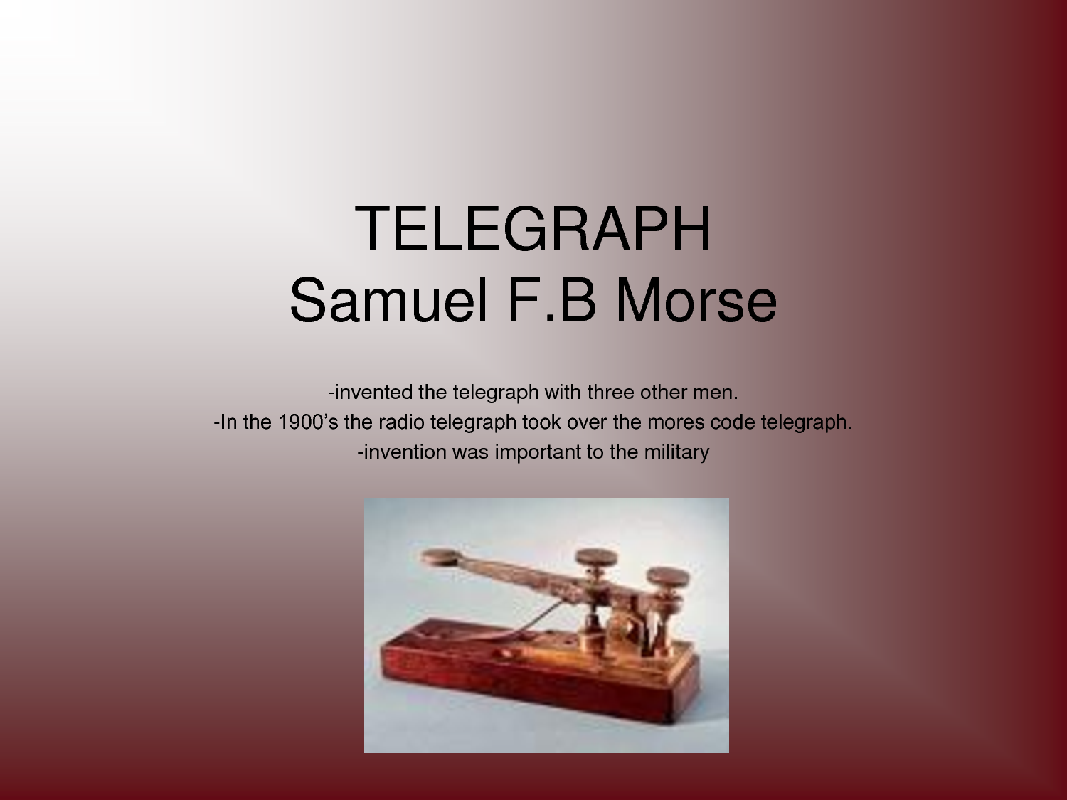 essay on samuel morse This research paper telecommunication in jamaica and other 63,000+ term papers samuel morse sent his first public message over a telegraph line between.